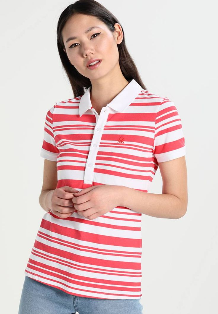 """Benetton. Polo shirt - red. Fit:regular. Outer fabric material:96% cotton, 4% spandex. Our model's height:Our model is 69.5 """" tall and is wearing size S. Pattern:striped. Care instructions:do not tumble dry,machine wash at 30..."""