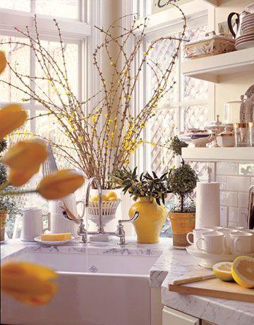 kitchen window..fabulous!Corner Sinks, Decor Ideas, Kitchens Wall, Easter Table, Kitchens Ideas, Spring Fever, Yellow Accent, Lemon Yellow, White Kitchens