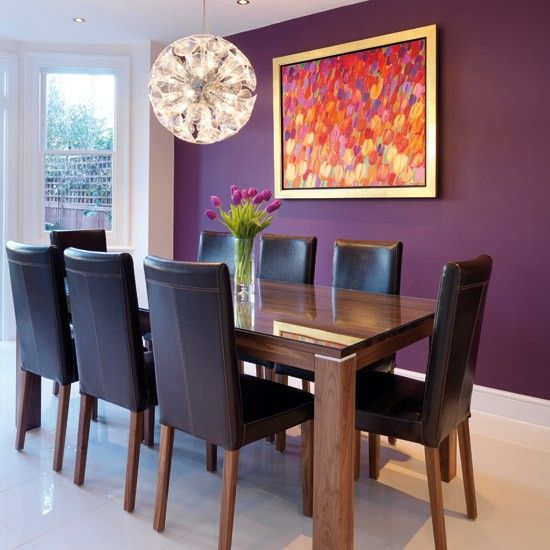 Dining room idea.... love painting (Tulips by Beata Murawska) and dulux Mulberry Burst for feature wall by fireplace?