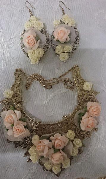 Medaillonketten - Vintage Accessoires-Set Roses Romantic Look - ein Designerstück von ShuShum bei DaWanda