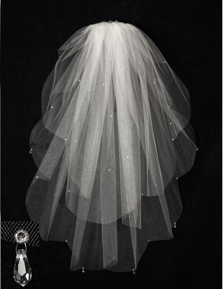 $95.99 Cut Edge Scalloped Wedding Veil with Crystal Drops