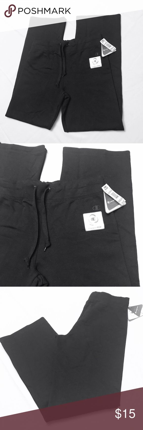 Womens Champion Eco Fleece Open Bottom Sweatpants This is a nice brand new heavyweight black pair of womens Champion Eco Fleece Open Bottom Sweatpants. These drawstring sweats are cotton & polyester, & very soft. They are good for working out or just lounging about! Champion Pants Track Pants & Joggers