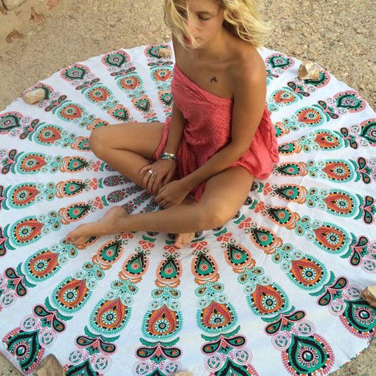 Summer Large Printed Round Beach Towels Mandala Tapestry Wall Hanging Throw…