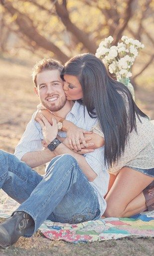 Engagement picture..yes, cute...but I love her hair!