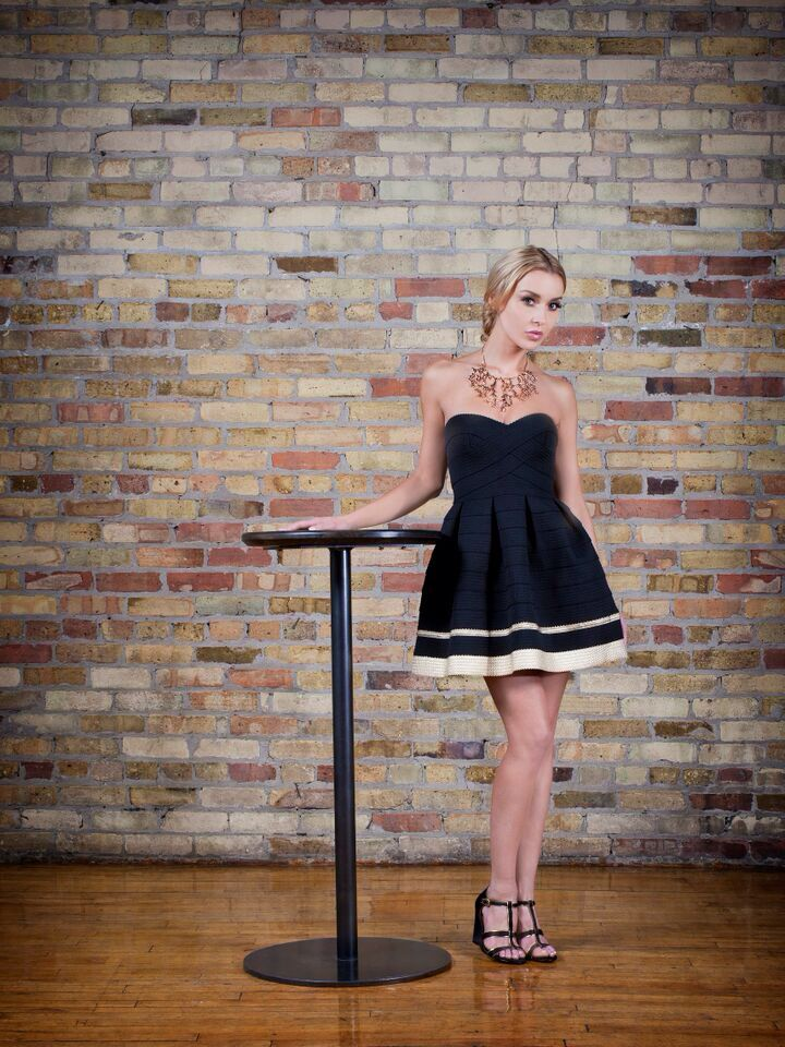 Sweetheart strapless elastic dress by Luna. Available at mirellas.ca