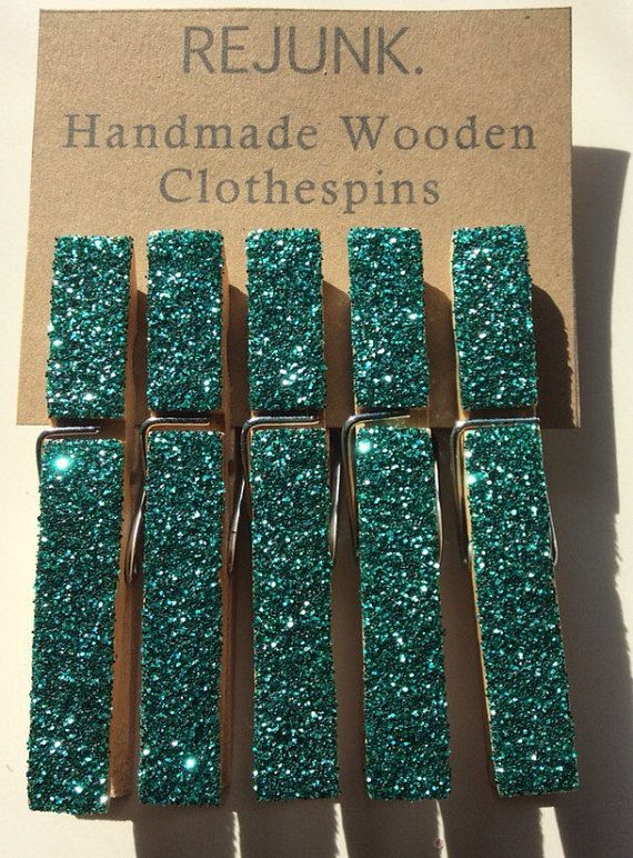 Turquoise glitter clothes pins, cubicle decor, magnets, organizer, clothespins, office supplies, birthday decorations, glitter magnet