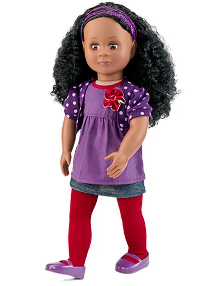 Abrianna is een pittige meisjes pop van Our Generation van 46 cm groot met prachtig krullend haar. Ze gaat gekleed in een paarse top met bloem, polkadot vestje, rode maillot, een blauw rokje, paarse schoentjes en in haar prachtige haar draagt ze een paarse haarband. De oogjes van Abrianna kunnen open en dicht.