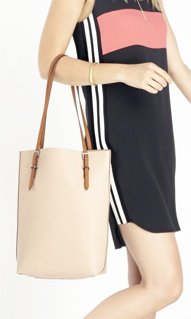 Neutral tote bag with chic thin straps