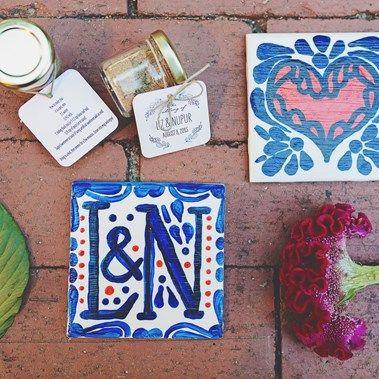 wedding idea: custom tile with couple's name and wedding favors -  Liz & Nupur's Cheery Multicolored Hindu-American Fusion Wedding {Ohio} - Gallery