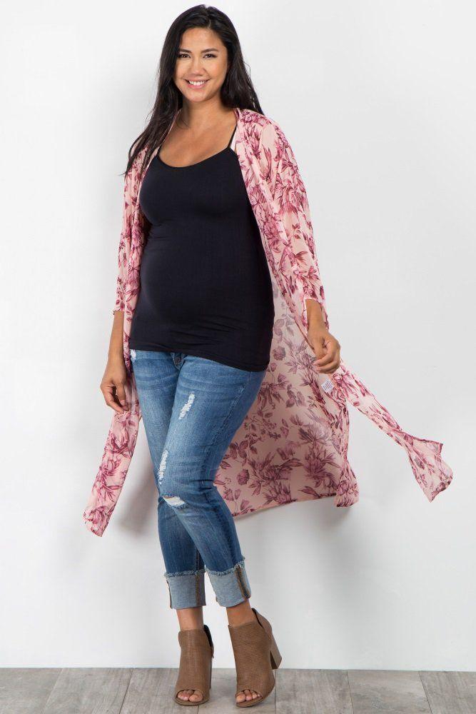 7023d4dcd7b4 Pink Floral Print Long Plus Maternity Kimono | CLOTHES | Pink blush ...