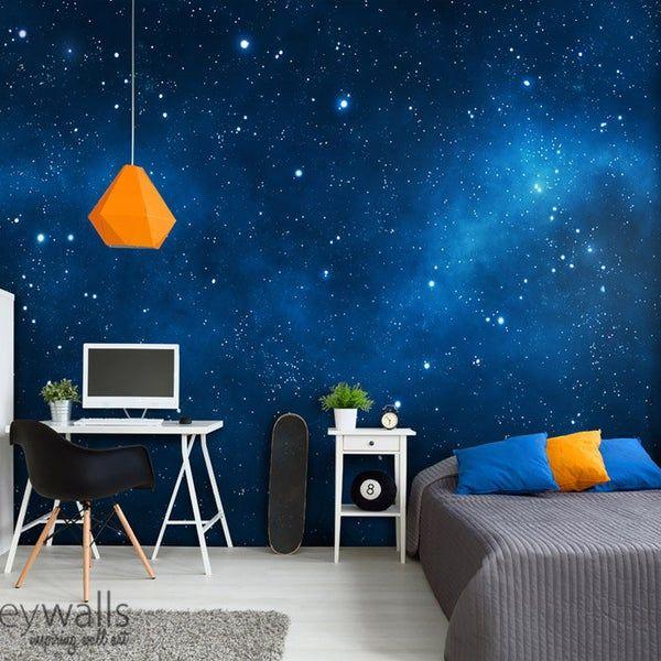 Space Mural Space Wallpaper Galaxy Mural Galaxy Wall Art Etsy Kids Room Wall Murals Kids Room Murals Kids Wall Murals