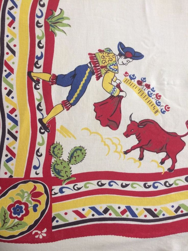 Rare VTG Fiesta Southwestern Tablecloth Bull Fighter Pottery Red Yellow Green Bl  | eBay