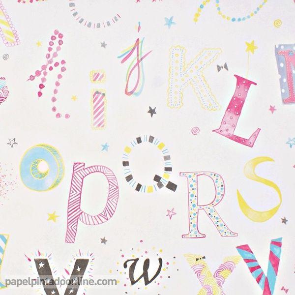 Papel pintado infantil summer camp 7281 01 29 con letras - Papel pintado letras ...