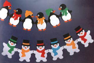 Mesetárház: Téli girland - Hóember és pingvin