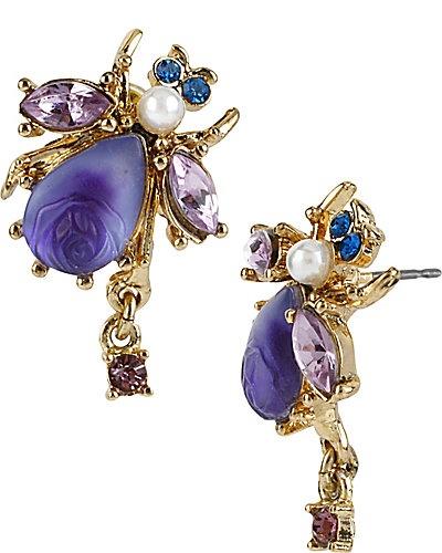 Betsey Johnson Bug Stud Crystal Earrings: Studs, Fashion, Betseyjohnson, Stud Earrings, Bug Stud, Earring Purple, Betsey Johnson