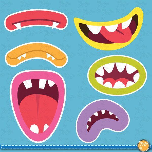 Cute Monsters Mouths Digital Clip art SetMonster by YenzArtHaut
