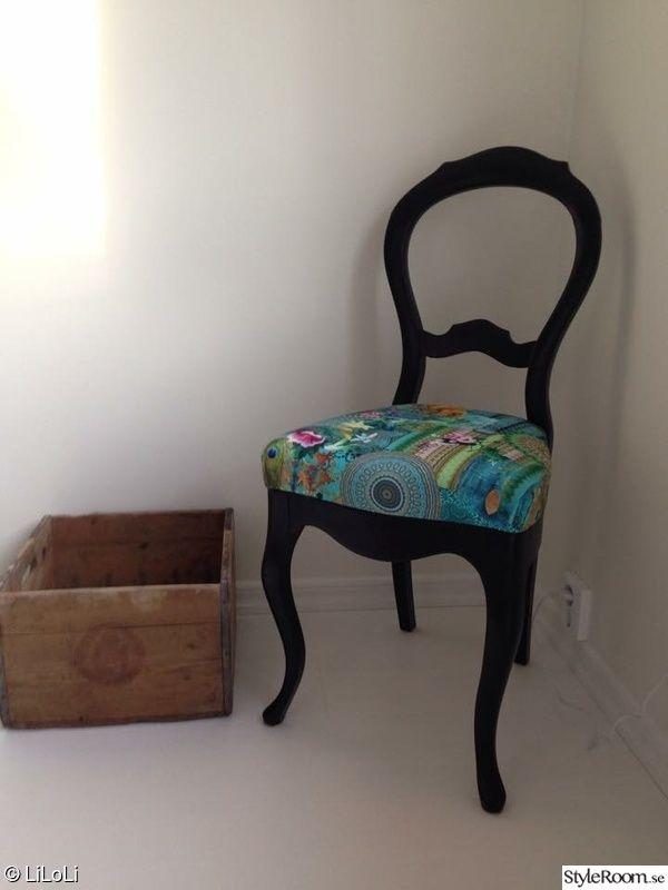 stol,tyg,turkos,orientaliskt,möbelrenovering