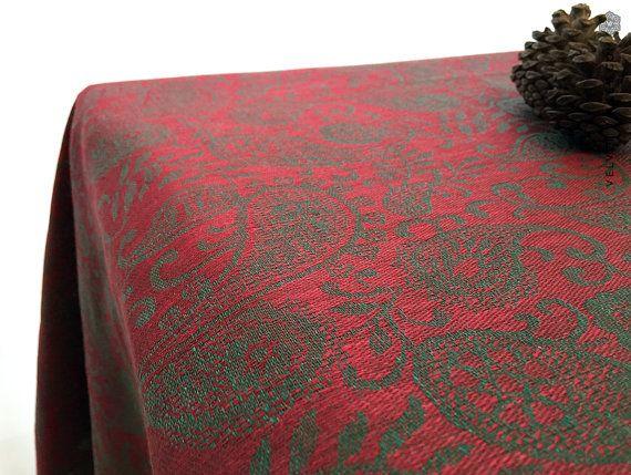 Estilo vintage de lino lujoso mantel granate rojo Mantel