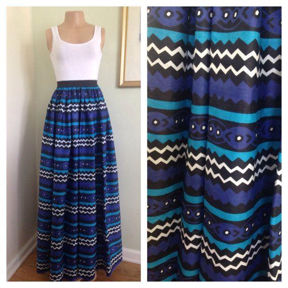 African Ankara Print maxi  Skirt with pockets for by ZiZiandGrace, $110.00