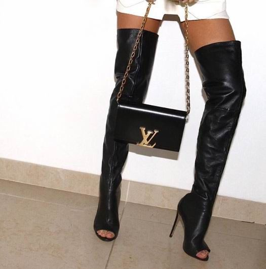 """Must have open toe black leather thigh high boots. Made of cowhide leather. Heel height, 4.7"""" inches. Size guide below: Note: Arrives in 10-14 days. These boots are custom made please allow up to 7 ex"""
