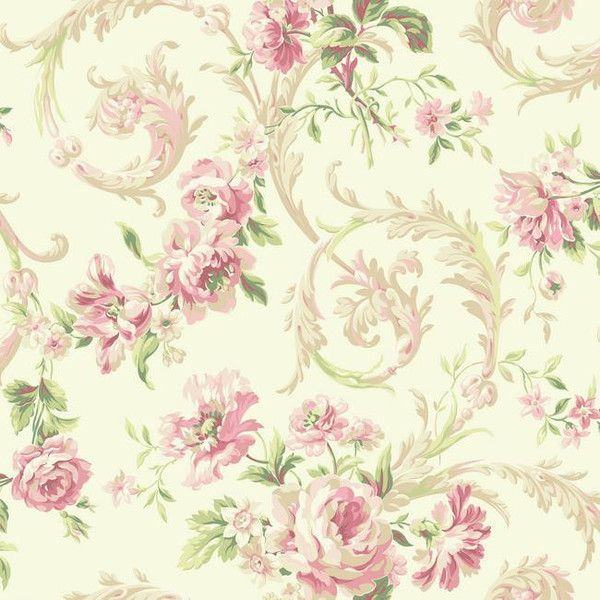 Rococco Floral Wallpaper in Pink and White design by York... ($43) ❤ liked on Polyvore featuring home, home decor, wallpaper, pattern wallpaper, york wallcoverings, floral pattern wallpaper, flower home decor and metallic wallpaper