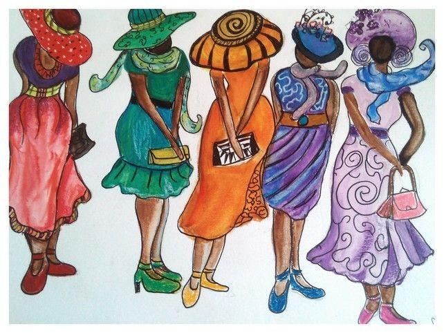 Abstract Beautiful African Ladies, Whimsical Colourful Painting, Quirky Fun Art £15.00