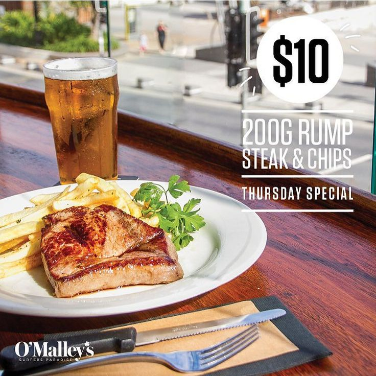 RUMP DAY! // Grab a Brew With A View and a $10 Rump with Chips too at O'Malley's Surfers Paradise. One of our most popular meals enjoy our Steak & Chips for lunch or dinner today.  #omalleys #omalleyssurfers #omalleyssurfersparadise #rumpsteak #tendollarlunch #tendollardinner #beer #brewwithaview #surfersparadise #surfersparadisebeach #visitsurfersparadise #goldcoast #visitgoldcoast by omalleyssurfers http://ift.tt/1PI0tin