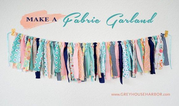 How to make a Fabric Garland - GREYHOUSEHARBOR.com I have leftover Hungry Caterpillar fabric.