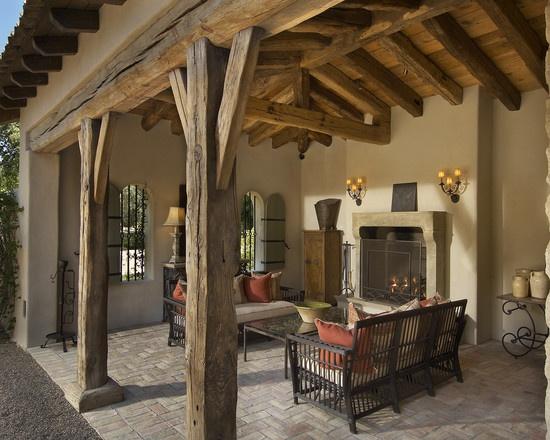 Timber Frame Posts Tin Roof Over Timber Beams Patio