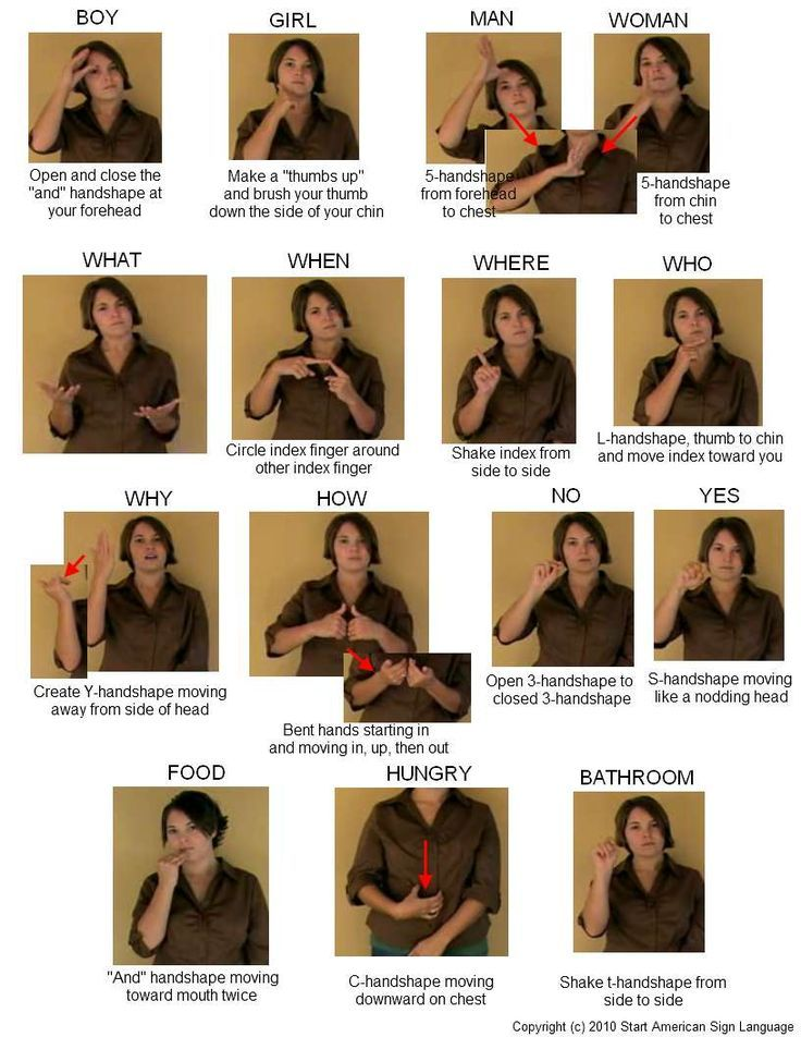 I'm going to try to learn sign language this summer. This is a chart with some common words.