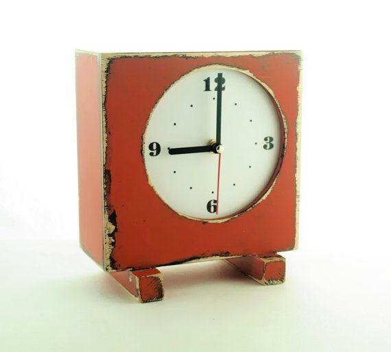 Desk CLOCK Square Orange  FREE SHIPPING by ArtmaStudio on Etsy, $52.00