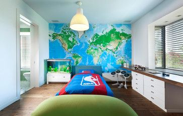 World Map Mural Wallpaper Design Ideas, Pictures, Remodel, and Decor  The map pictured appears to be this one: http://www.worldmapsonline.com/worldmapwallmurals.htm
