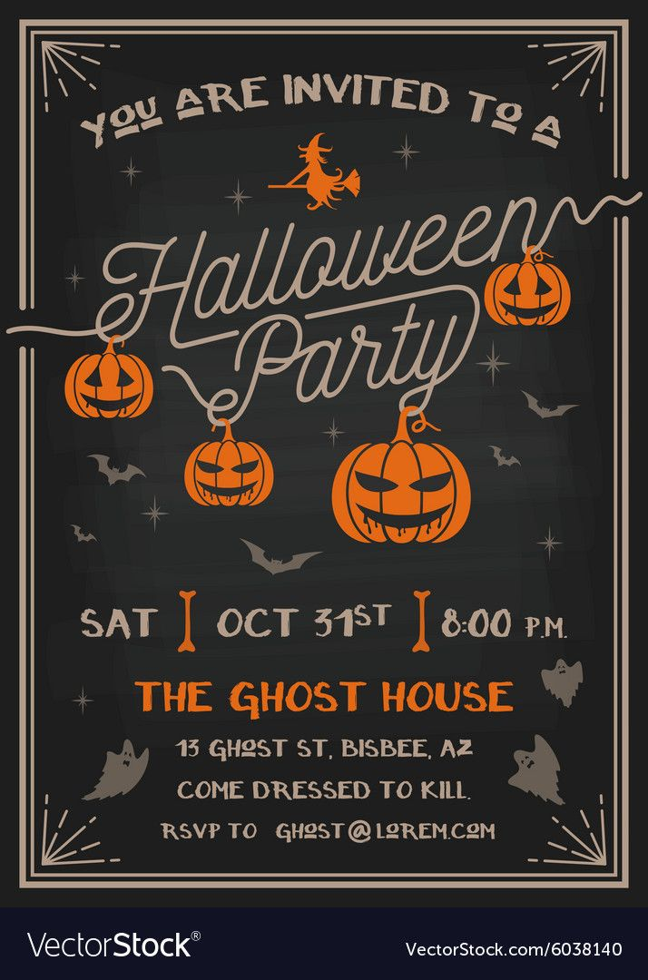 Typography Halloween Party Invitation Card Design With Scary Pumpkins Des Halloween Party Invitations Halloween Party Invitation Template Party Invite Template