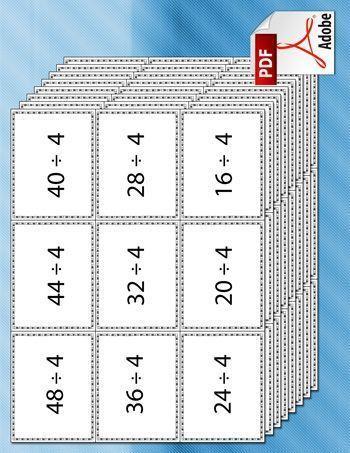 Cartas dividir imprimible pdf Mehr zur Mathematik und Lernen allgemein unter zentral-lernen.de