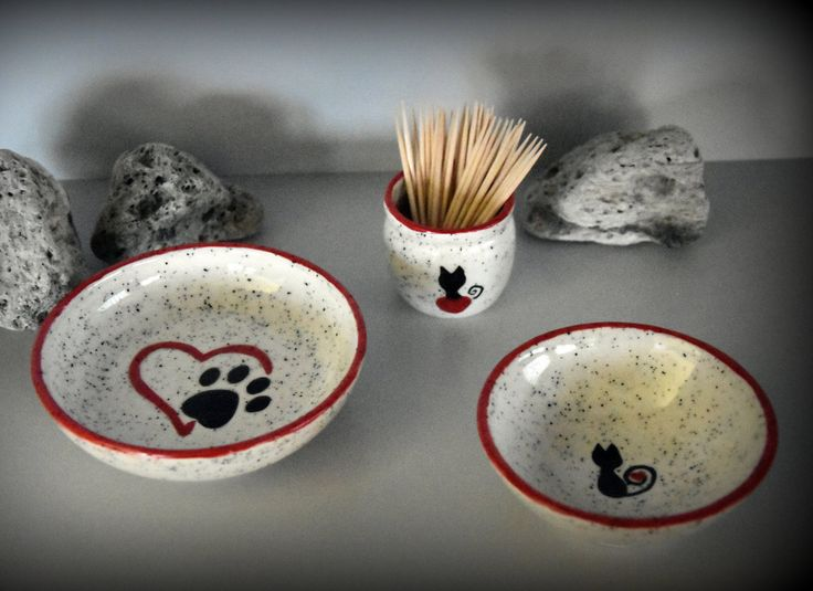 Set handgedraaide tapas kommetjes / schaaltjes + houder tandestokers / handgeschilderde decoratie kat / kattenpootje - keramiek - aardewerk door Evacreajewel op Etsy