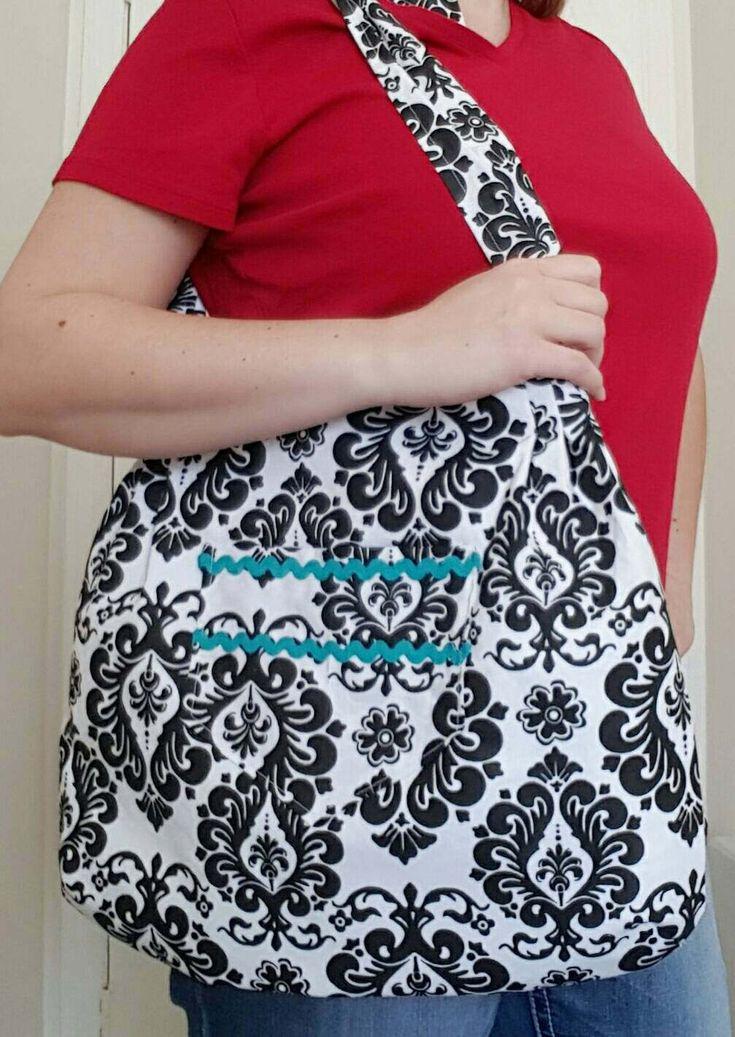 Large tote bag, damask bag, large purse, adjustable strap, lined purse, gift for her, zipper pocket, pleated bag, shopping bag, shoulder bag by SewSassyByApril on Etsy