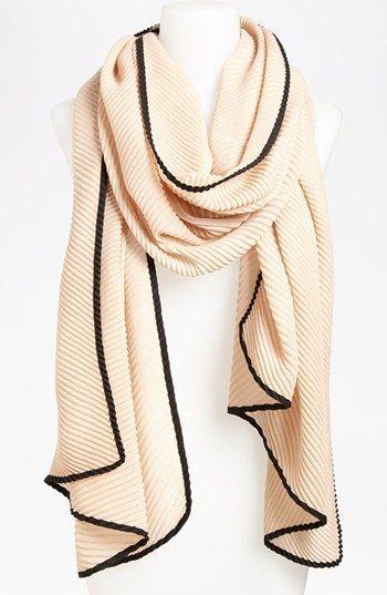 Cream scarf with black trim. #PleatScarf #Scarf #Scarfcollection