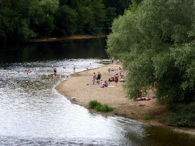 The popular river beach at Barrou...has been well used this summer beacause of the very high temperatures here in the Loire Valley