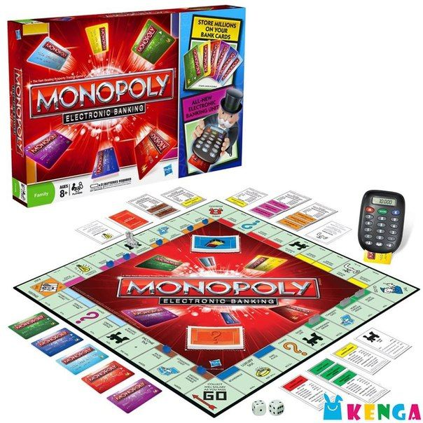«Монополия» — отличная штука! Развивает память, деловую хватку, математические навыки, внимательность. Только вот старенький вариант игры с бумажными деньгами — это такая древность :) Нам кажется, современному поколению больше понравится усовершенствованная «Монополия» с пластиковыми карточками и платежным терминалом. Будет, чем заняться долгими осенне-зимними вечерами. Настольная игра «Монополия» с банковскими карточками цена: 13 550 KZT код товара: H 37712 производство: Hasbro возраст: 8+