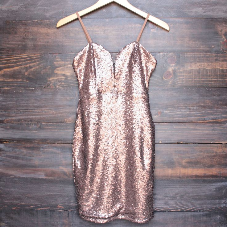 FINAL SALE - bronzed sequin beauty body con dress - shophearts - 1