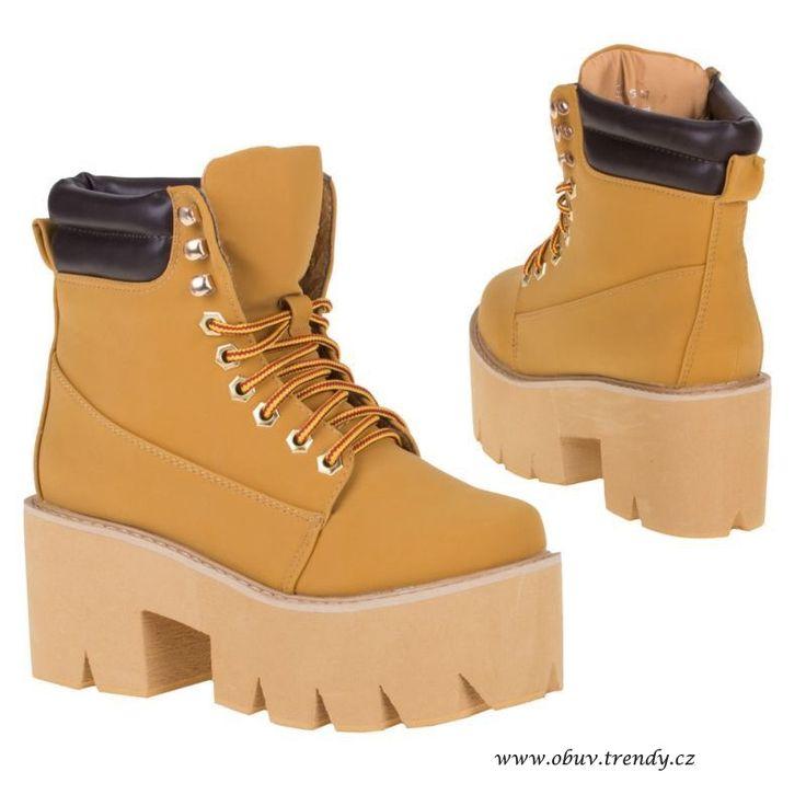 šněrovací  boty na vysoké podražce