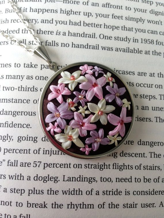 CYBER MONDAY SALE - Handmade Embroidered Necklace, Pink and Lavender Pendant - Silk Ribbon Embroidery on Upcycled Recycled Fabric