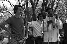 Immigration - Cesar Chavez speaking at a 1974 United Farm Workers rally in California. The UFW during Chavez's tenure was committed to restricting immigration.