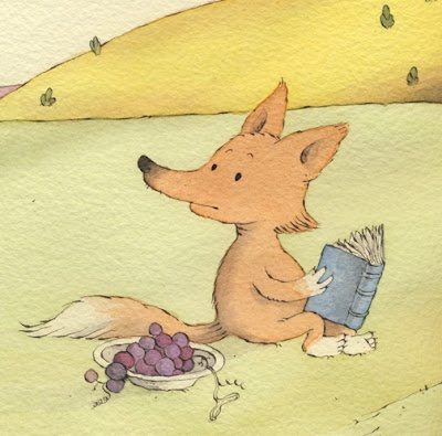 A fox by SERGIO RUZZIER  a detail from a spread for SERGIO RUZZIER's next book with Eve Bunting, coming out in the spring of 2013.