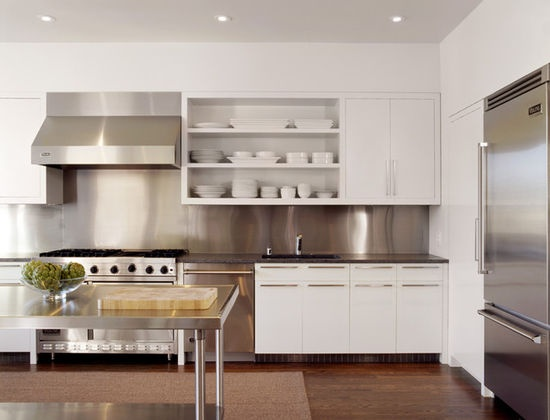 White Kitchen/Stainless Steel splashback (could do painted glass instead for easier cleaning)