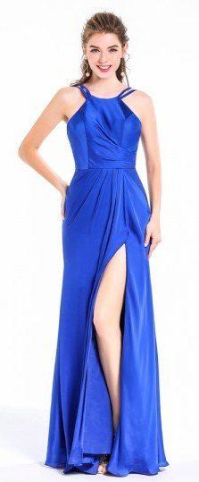 Robe de soirée longue fendue bleu roi col licou pour bal danse cérémonie anniversaire