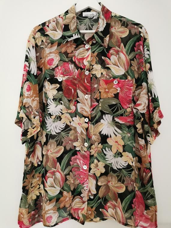 Vintage Womens 80s  Black Flower Print Colorful Puff Sleeve Blouse