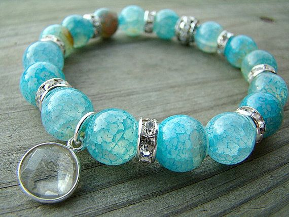 Blue Agate Stretch Bracelet Gemstone With Crystal Quartz Charm Pendant And Clear Rhinestone Stacked