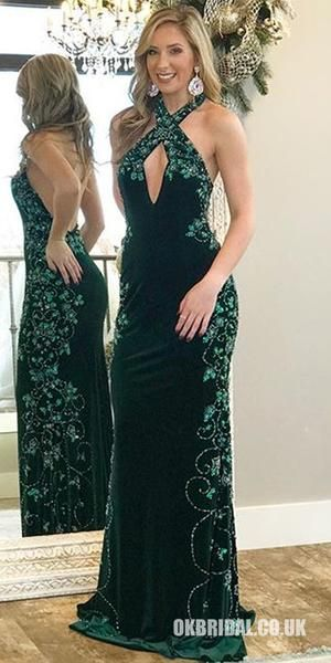 6f62c2d1ea2 Charming Halter Velvet Mermaid Backless Beaded Sleeveless Prom Dresses