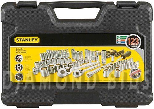 Stanley-123-Piece-Set-Mechanics-Tool-Kit-Craftsman-Chrome-Sockets-Handyman-Drive